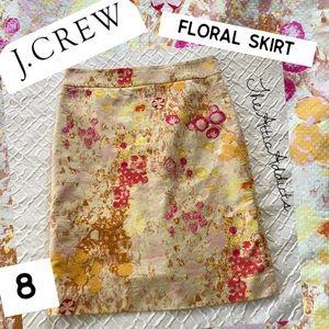 J Crew Floral Skirt sz 8